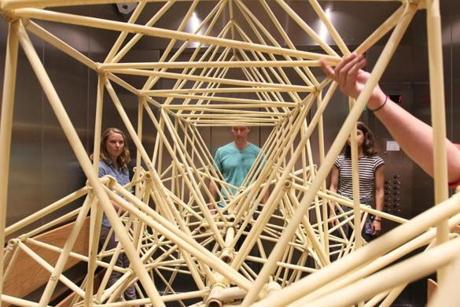 SPeabody Essex Museum staff guided one of Theo Jansen's Strandbeests into a freight elevator on its way to gallery space.